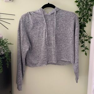 cropped heathered gray hoodie long sleeve